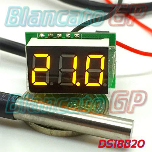 Mini Digitales Thermometer, -55 ° 125 °C LED, Gelb DS18B20 SONDA WATERPROOF Auto DC