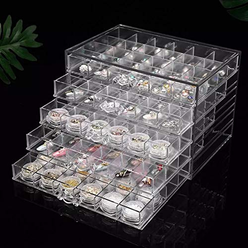 Organizador de 120 rejillas de acrílico transparente para uñas, organizador de maquillaje, joyas, arte de uñas, cosméticos,...