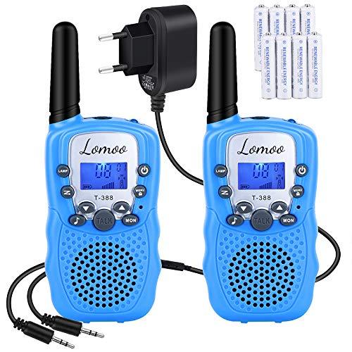 Lomoo Walkie Talkie Niños PMR 446 Walky Talky con 8 Piezas Batería Recargable y Cargador, Función VOX 8 Canales 0,5 W Pantalla LCD y Linterna Incorporado (Azul)