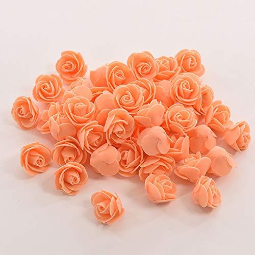 Kalaokei 50 Stück künstliche Mini-Rosen, DIY Kranz, Braut, Blumenstrauß, Süßigkeitenbox, Party, Dekoration, handgefertigt, Hochzeit, Süßigkeitenbox, Schaumrose, Blütenkopf, Orange