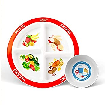 Health Beet Portion Plate Choose MyPlate for Kids Toddlers - Kids Plates with Dividers and Nutrition Portions Plus Dairy Bowl - English Language  1 Plate 1 Bowl