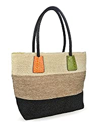 Hoxis top handle colorful straw tote for summer