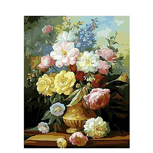 DMLGQ Digitaal schilderij om te knutselen, olieverfschilderij, decoratie, door u zelf geschilderd, canvas, 40 x 50 cm, pioenroos in vaas Frameloos.