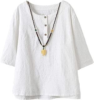 Women's 3/4 Sleeve Cotton Linen Jacquard Blouses Top T-Shirt