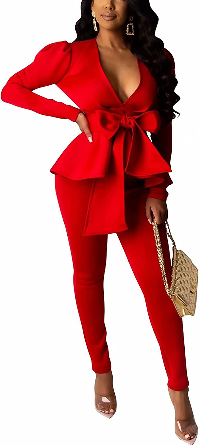 Remelon 2 Piece Finally popular brand Outfits for Women with Pants V Classic Long Blazer Deep