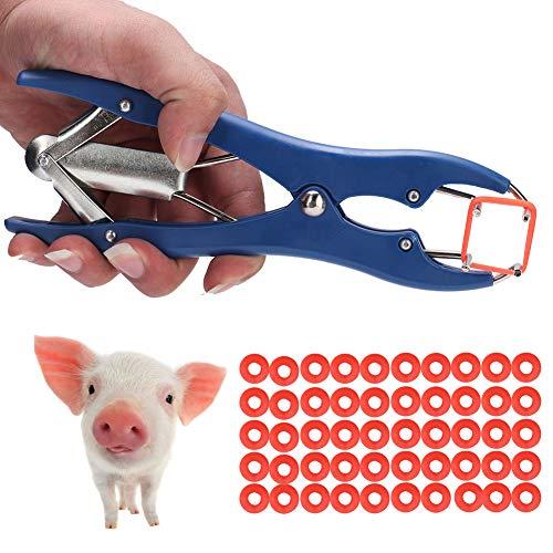 Pssopp Elastrator Zange Elastrator Kastrationszange mit 50pcs Ringen Elastrator Kastrationszange Applikator für Schweine Rinder Schaf Ziegen