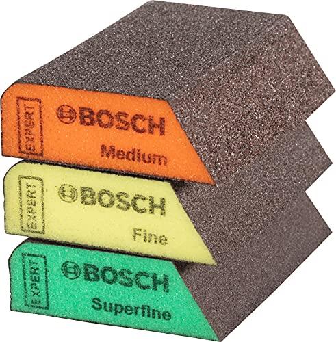 Bosch Professional 2608901174 3X Tacos Expert (69 x 97 x 26 mm, Grado de finura Medio/Fino/superfino, Accesorios Lijado Manual), 3 x S470 Combi