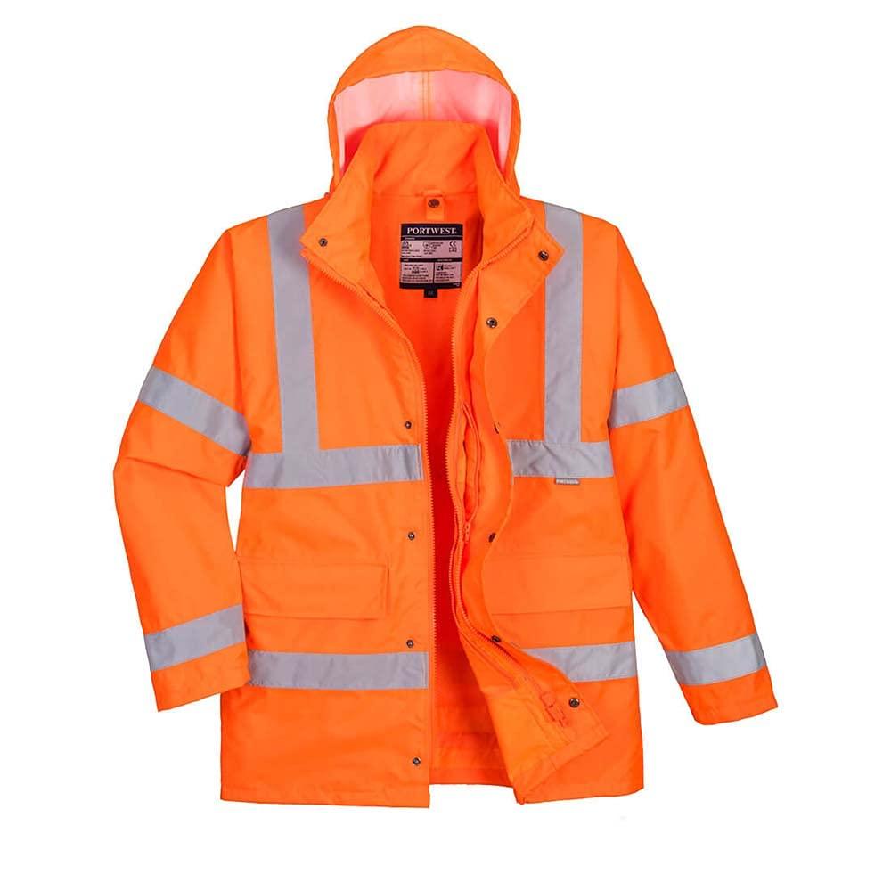 Portwest Workwear Mens Hi-Vis 4-in-1 Jacket Orange Small