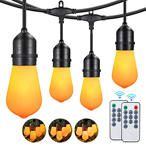 48FT Flickering Flame String Lights Outdoor, 3 Modes Dimmable LED Edison String Light with Remotes, Commercial Grade Waterproof Shatterproof Light Strings for Patio Cafe Bistro Pergola Backyard Garden