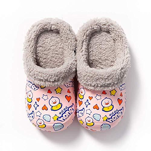 Zapatillas para niños de dibujos animados, zapatillas de algodón impermeables, zapatillas para niñas y niños, zapatos cálidos de invierno más zapatillas de cachemira para el dormitorio, amarillo, 16