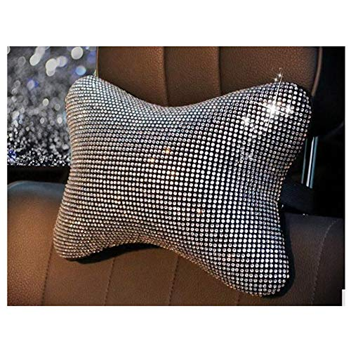 Siyibb 1 Pc Crystal Rhinestone Car Headrest Pillow Neck Support Cushion