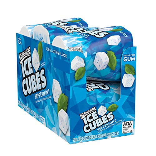 ICE BREAKERS ICE CUBES Peppermint Flavored Sugar Free Chewing Gum, Made with Xylitol, 40 Piece, Container (4 Count) by Hershey's