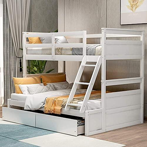Twee aparte stapelbedden, massief houten bedframe met 2 opbergladen, veiligheidsrek, ladder en sterke lattensteun, perfect voor kinderen en jonge tieners (grijs)