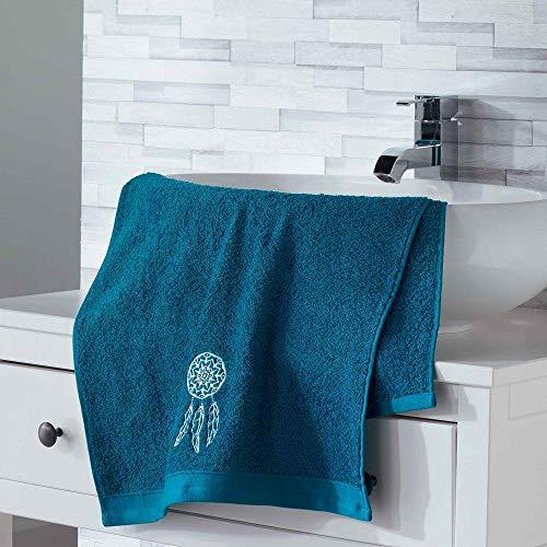douceur d'intérieur 2 gants de toilette 16x21 cm eponge brodee talisman bleu