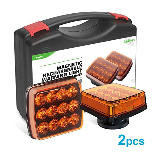 AgriEyes 2Pcs Rechargeable Flashing Lights for Vehicles, Super Magnetic Strobe Hazard Lights, 12-24V, Wireless Portable Amber Led Warning Beacon Emergency Light for Trucks Bus Tractor Oversize Trailer