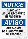 Señal bilingüe con Texto en inglés Notice - Audio and Visual Recording in Progress de plástico de 7' x 10'