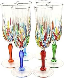 CALICE FLUTE Opera Original pintada a mano de cristal de Murano Prosecco de vasos de champán Venice Multi-colored