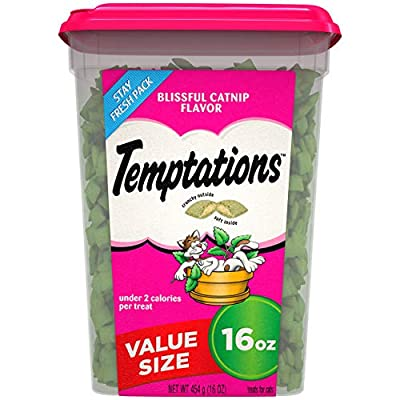 TEMPTATIONS Classic Crunchy and Soft Cat Treats Blissful Catnip Flavor, 16 oz. Tub