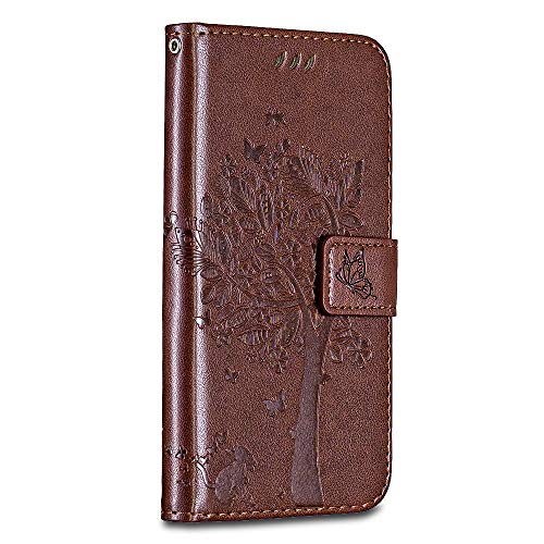 Casake Huawei P8 Case [Emboss] with [Magnetic Closure][TPU Inner Shell][Card Slots] Leather Flip Case Compatible with Huawei P8 -Marron#2