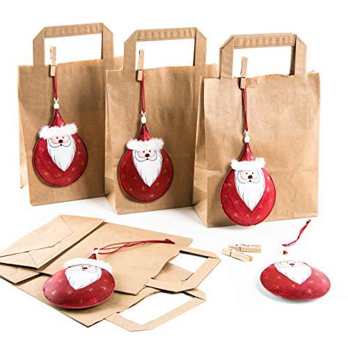 Logbuch-Verlag 5 Nikolaus Sackerl Nikolausgeschenk braune Papiertüten + rot weiße Weihnachtsmann Anhänger Verpackung Weihnachten zum Befüllen Deko