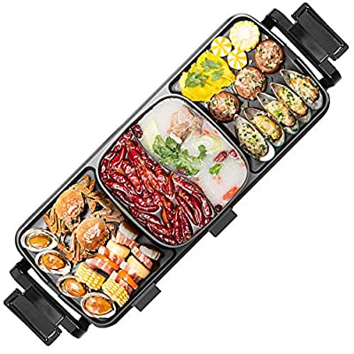 ZXMOTO Electric Grill Indoor Hot Pot 3100W Multifunctional Non-stick Teppanyaki Grill w/Shabu Shabu Electric Barbecue Stove Shabu Pot for 3-8 People, Separate Dual Temperature Control
