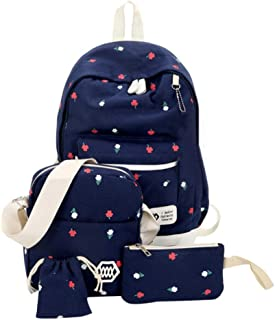 Backpack 4 Set Canvas Printing Backpacks Women Cute Bookbags Middle High School Bags for Teenage Girls