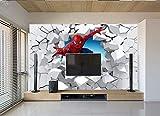 Papel Tapiz 3d Spiderman A Través De La Pared Ilustración Sala De Estar Dormitorio Fondo...