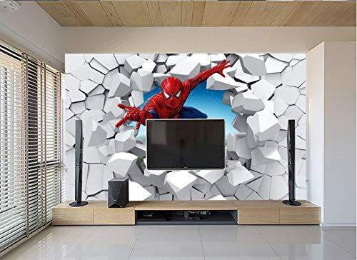 Papel Tapiz 3d Spiderman A Través De La Pared Ilustración Sala De Estar Dormitorio Fondo Decoración De La Pared Mural Papel De Pared