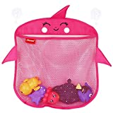 2X Bath Toy Organizer Baby Toy Holder   Mesh Bathtub Storage Bag Shower Tub Container For Toddlers   Net Bathroom Caddy With 6 Strong Suction Cup Hook   Bonus 10 Foam Numbers (Unicorn Hot Pink)