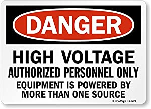 "SmartSign ""Danger: High Voltage Authorized Personnel Only"", Plastic Sign, 7"" x 10"""