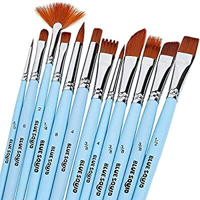Blue Squid Watercolor Brushes Paint Brush Set, 12 Artist Paint Brushes, Perfect for Face Painting, Round Pointed Tip Nylon Hair Artist for Acrylic Watercolor Oil & Body Painting
