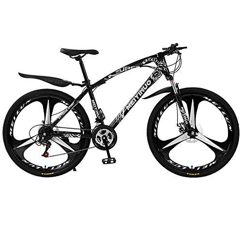 MATTE Erwachsene Mountain Bikes mit hohem Kohlenstoffstahlrahmen, 26-Zoll-24-Gang-Getriebe Doppelscheibenbremse Gebirgsfahrrad, freies Pedal und Sitze, Unisex,Schwarz