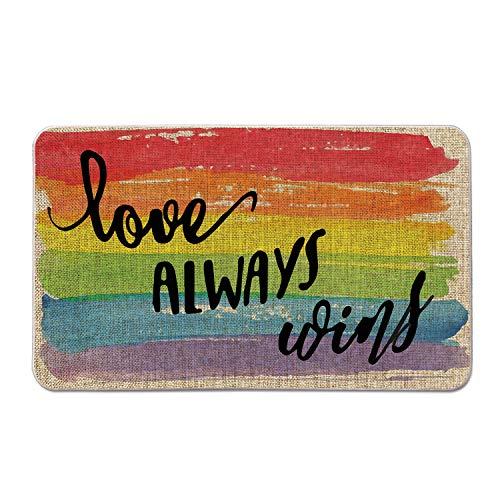 Artoid Mode Love Always Wins Rainbow Decorative Doormat, Pride Gay Lesbian Pansexual LGBT Low-Profile Floor Mat Switch Mat for Indoor Outdoor 17 x 29 Inch