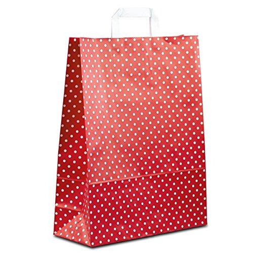 100 x Papiertragetaschen weiss, Motiv: Punkte 32+12x40 cm | stabile Papiertaschen | Papiertüten Flachhenkel | Papierbeutel Mittel | HUTNER