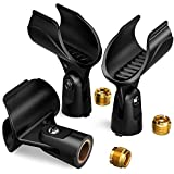 Moukey Pinza Soporte 3 Packs para Micrófono Universal con 5/8 Pulgada de Tornillo y Adaptador de Tuerca Clip para Micrófono de Mano como Sm58 Sm86 Sm87
