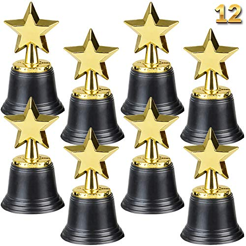 Star Trophy Awards - Pack of 12 Bulk - 4.5 Inch, Gold Award Trophies for Kids Party Favors, Props, Rewards, Winning Prizes, Competitions for Kids and Adults by Bedwina