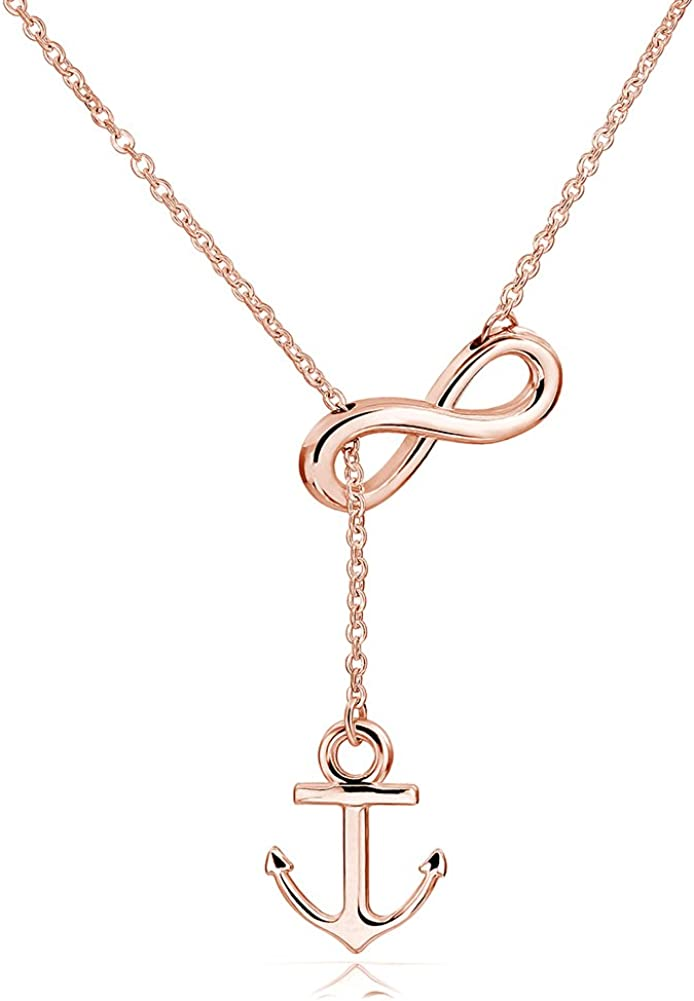 ELBLUVF Newest Stainless Steel Anchor Infinity Y Shaped Lariat Style Necklace 18inch for Women 3 Colors