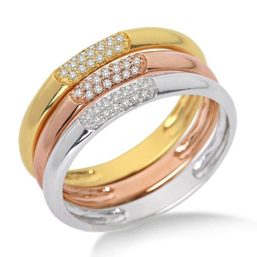 Miore Damen-Ring 3-teilig 375 Tricolor mit Brillanten Gr. 52 MF9008RM