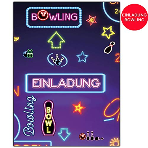 Bowling Einladungskarten Neon Bowlingparty 12er Set zum Kindergeburtstag Kegeln Kinder Geburtstag-Einladungen bowlen Feier Party Jungen Mädchen