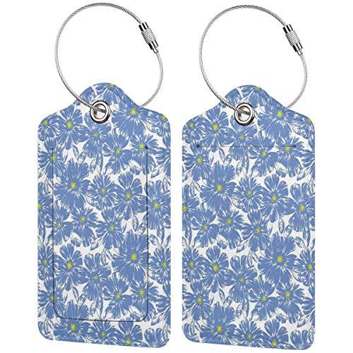 SIONOLY Gepäckanhänger Kofferanhänger mit Adressschild,Corsage Gänseblümchen Jasmin Blütenblätter Duft Botanische Schönheit Pastell Natur Design,Koffer und Gepäck auf Reisen,(4 Stück)