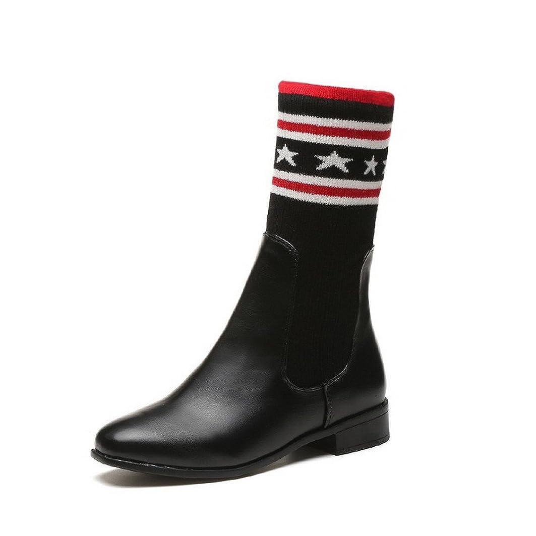 人工具体的に週間(オールエイチキューファッション) AllhqFashion レディース スクエアトゥ ローヒール 弾力のあるファブリック 雑色 プルオン ブーツ 22.5cm ブラック
