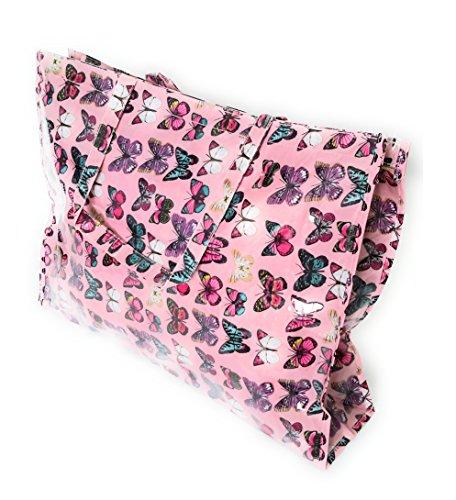 BRANDELIA Bolso Grande Plástico Playa Compras Mujer Bolso Impermeable con Cremallera, Mariposas