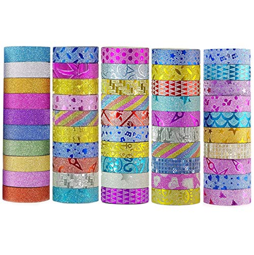 ONEST 50 Rolls New Designs Glitter Washi Masking Tape Set, Great Gift for DIY Scrapbook Photo Album Decorations Tape Adhesive School Supplies
