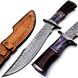 BK-42 Handmade Damascus Steel 15 Inches Bowie Knife - Solid Marindi Wood/Bone...