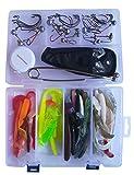 SANDAFishing Spinnfischen Raubfisch Köder Box Relax Kopyto Gummifisch Set 9cm 10cm 14cm Hecht Zander Barsch Dorsch Gummiköder Angel Zubehör Jig Kunstköder Twister Angeln Angelset (79Teile+Werkzeug)