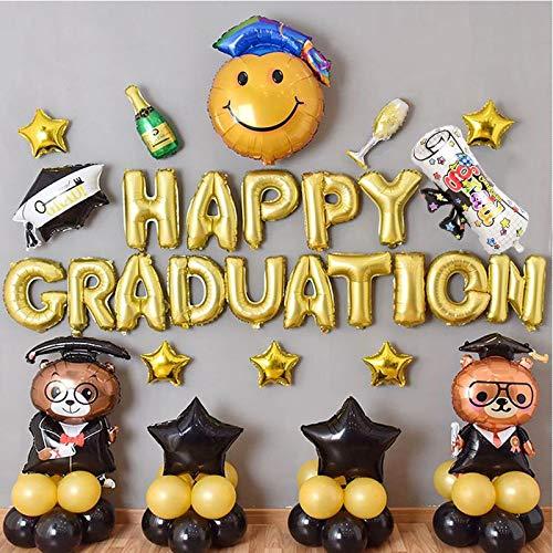 ENXI Globos 1set Feliz Graduación Foil Balloons Felicidades Felicitaciones Party Decorations Globos Doctor Hat Helium Balls Volver a la Escuela Fiesta Suministros