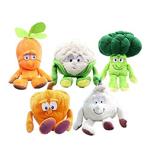 qinhuang 5 Piezas Fruta Muñeco De Frutas Y Verduras Juguetes, Zanahoria Rellena Suave / Calabaza / Ajo / Brócoli / Coliflor Blanca para Regalo del Día De Los Niños 25Cm