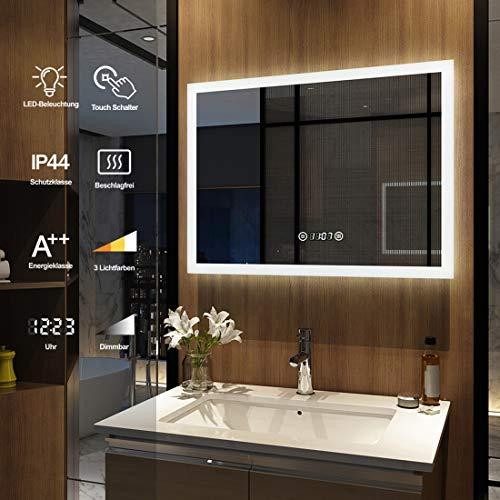 Meykoers Wandspiegel Badezimmerspiegel LED Badspiegel mit Beleuchtung 80x60cm Spiegel mit Touch-Schalter, Uhr, Beschlagfrei, Lichtspiegel Dimmbar Warmweiß/Kaltweiß/Neutral 3000K-6400K