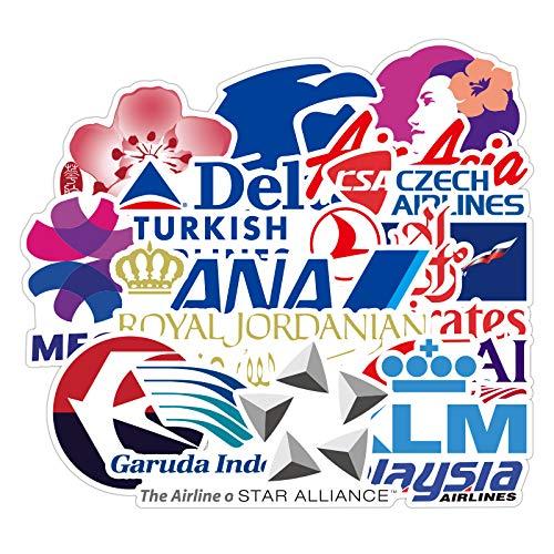 ZXXC 55Pcs Aviation Aircraft Company Logo Car Sticker Cartoon Graffiti Tide Brand Travel Skateboard Guitar Suitcase Sticker