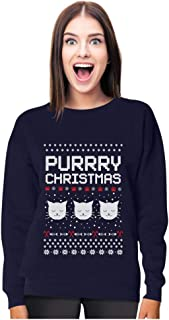 Purrry Christmas Ugly Sweater - Cute Cat Lover Xmas Party Women Sweatshirt